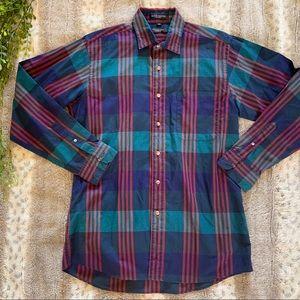 Christian Dior Plaid Vintage Button Down Shirt